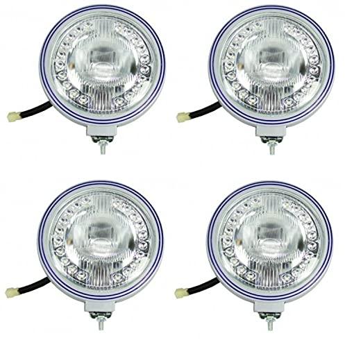 Set of 4 12V 20 LED Headlights for Truck Tractor ATV 4x4 Angel Eyes