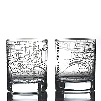 Greenline Goods Whiskey Glasses - 10 Oz Tumbler Gift Set for New Orleans lovers, Etched with New Orleans Map   Old Fashioned Rocks Glass - Set of 2