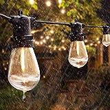 100FT Guirnaldas Luminosas de Exterior, Anting 30M S14 Luces de Cadena con 30X1W Bombillas LED E27, IP65 Impermeable, Comercial iluminación para Jardín Patio Fiesta Boda (2 Bombillas de Repuesto)