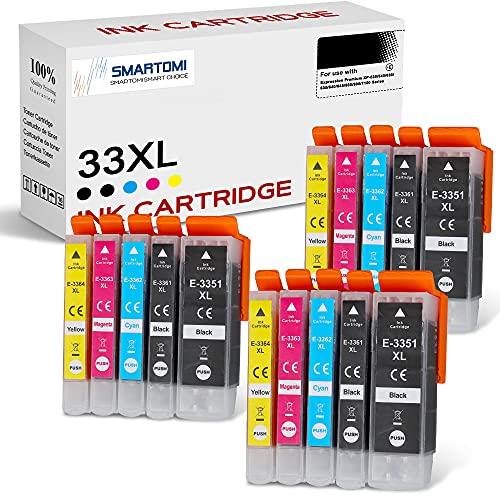 SMARTOMI 33XL Cartucce d'inchiostro Compatibile con Epson 33 XL 33 per Epson Expression Premium XP-530 XP-540 XP-630 XP-635 XP-640 XP-645 XP-830 XP-900 XP-7100 Series(15 PACK)