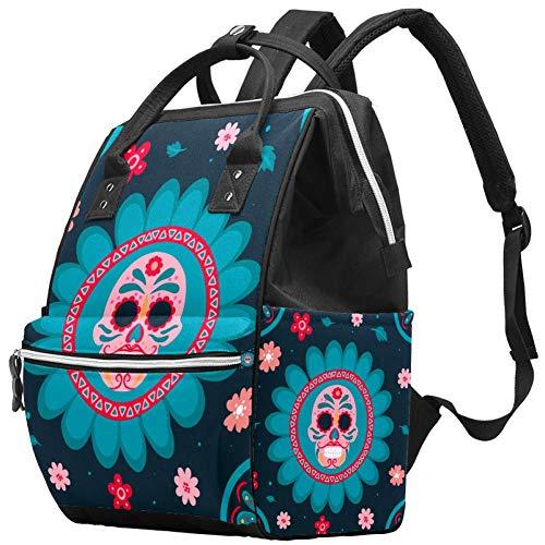 Sunflower-Skull Travel Rucksack Casual Daypack Maternity Nappy Bag Organizer Nursing Bottle Bag
