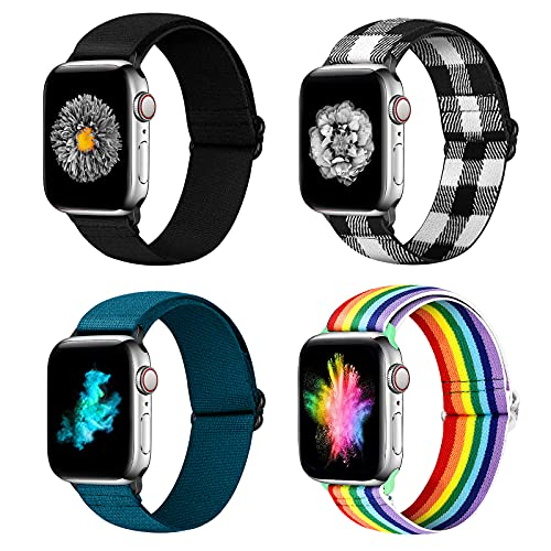 YCHDDER Nylon Elastic Watch Band Compatible with Apple Watch 42mm 44mm, Adjustable Sport Solo Loop Wristband Strap Compatible with iWatch Series 6/5/4/3/2 / 1SE(Black+Royal Blue+Rainbow+Black White)