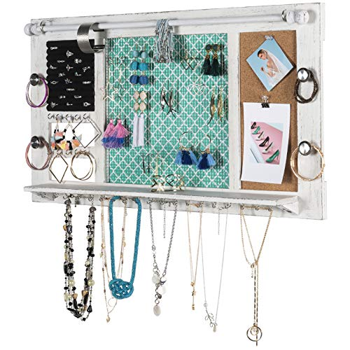 Large Rustic Wall Mounted Jewelry Organizer: 28