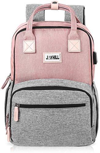 Laptop Rucksack, 15,6 Zoll Stilvoller Notebook Rucksack mit USB Ladeanschluss, Wasserfester Business Reiserucksack Hochschule Schultasche für Frauen Mädchen (Rosa)