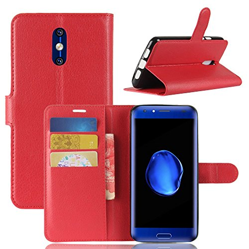 Tasche für Doogee BL5000 Hülle, Ycloud PU Kunstleder Ledertasche Flip Cover Wallet Hülle Handyhülle mit Stand Function Credit Card Slots Bookstyle Purse Design rote