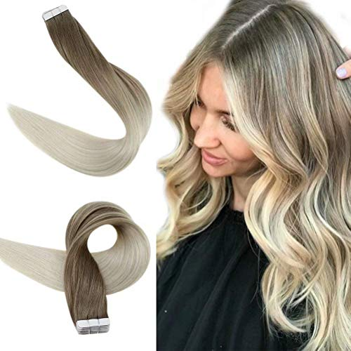 [Überraschung aus] Easyouth Balayage Tape Extensions Echthaar 40g Ash Brown Fading to Blonde 16zoll Echte Haare Extensions aus Deutschland Tape Extensions