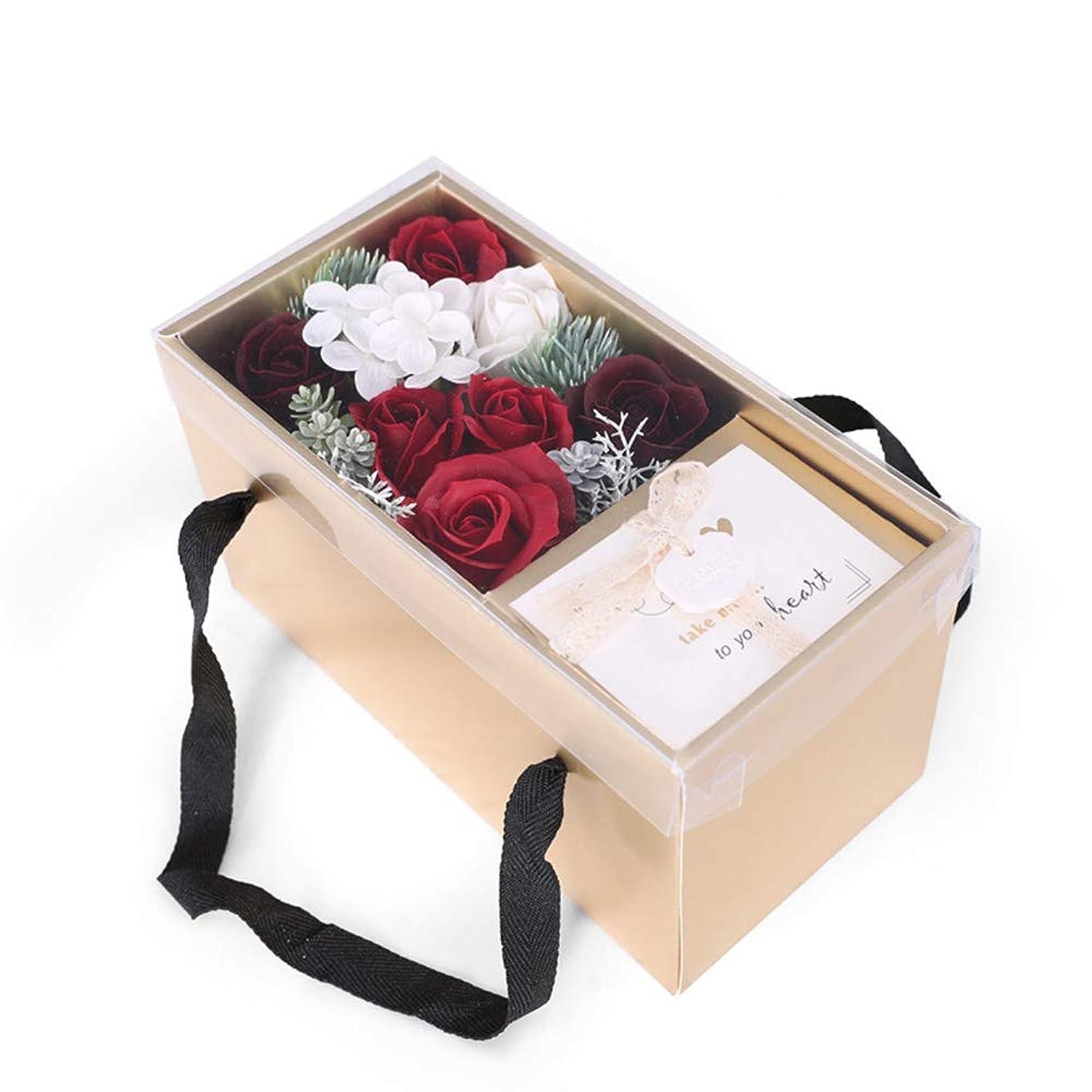 不明瞭扇動おいしいソープフラワー 母の贈り物、花で作られた人工の石鹸の花バラ、記念日の誕生日プレゼントの妻、母の贈り物、女性のためのクリスマスのユニークな贈り物のアイデア、おばあちゃん、おばさん 誕生日 記念日 女性 先生の日 母の日 敬老の日 結婚記念日 クリスマス (色 : 赤)