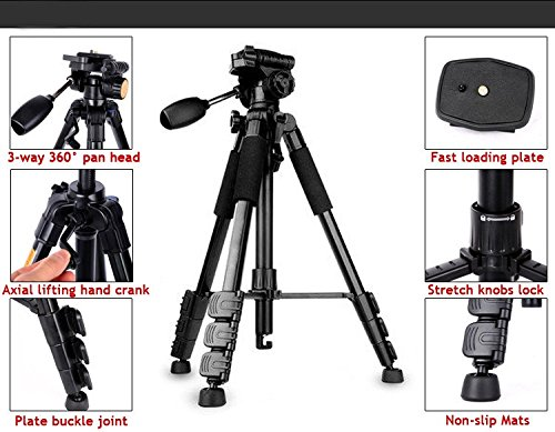 Fotga Q111 professionele tripod draagbare reizen aluminium statief & kogelkop voor DSLR-camera Canon Nikon Pentax Sony