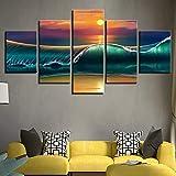 Pintura sin Marco Sunset Beach Seascape HD Imagen Lienzo Arte Cartel Mural decoración del hogar Sala ZGQ2057 30x40cmx2, 30x60cmx2, 30x80cmx1