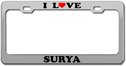 Product Express I Love Surya Boy Girl Name Chrome License Plate Frame Tag Border & Cover