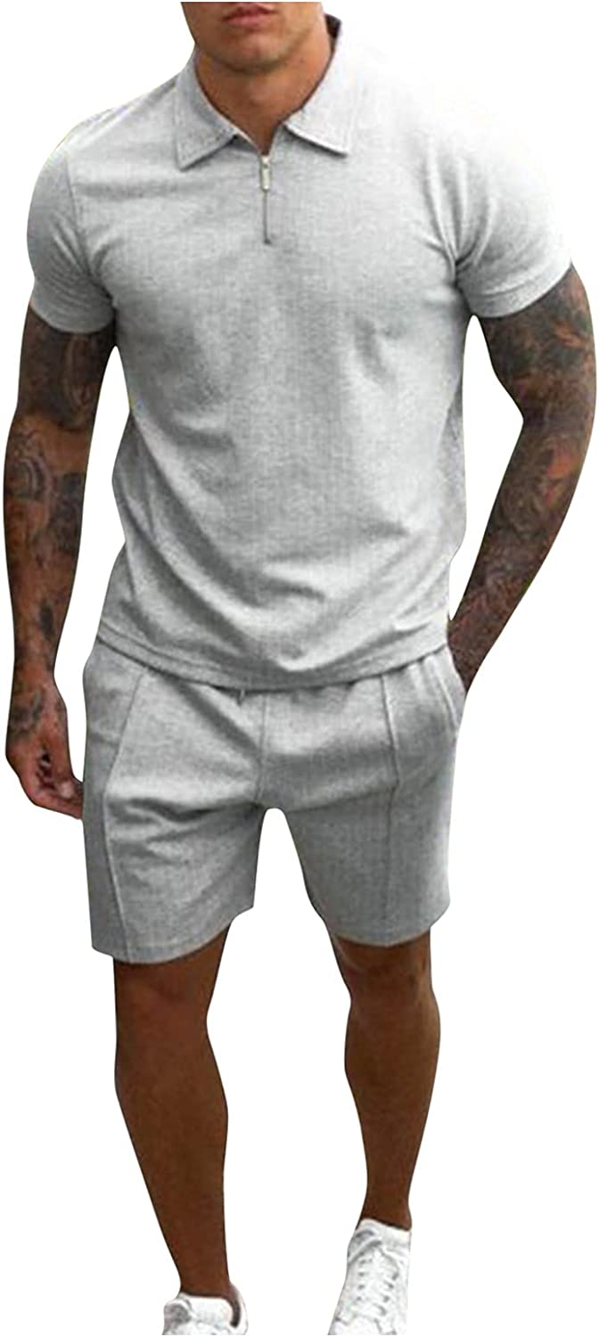 Men's Casual Solid Set Zipper Turn-Down Collar Tops Pocket Shorts Two Piece