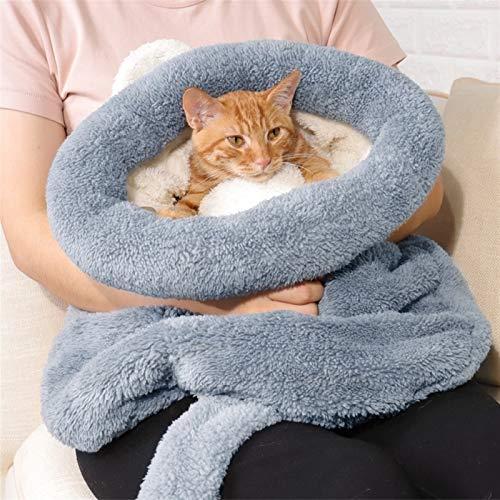 Bolsa de Dormir del Gato Cálido Coral Cama Gato Casa Perro Encantador Cojín de la Estera Gato Caliente de Viaje (Color : Gary, Size : M)