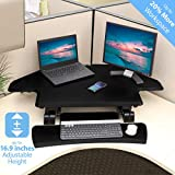 Seville Classics AIRLIFT 43' Cubicle Corner Gas-Spring Height Adjustable Standing Desk Converter Workstation with Keyboard Tray Ergonomic Table, Black