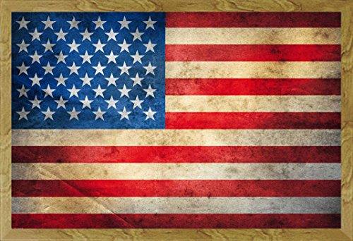 Länderflaggen - Länderfahne United States of America Amerika USA Flagge Fahne Poster - Grösse 91,5x61 cm + Wechselrahmen, Shinsuke® Maxi MDF Eiche, Acryl-Scheibe