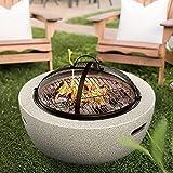 Wsjfc Beton-Feuerstellen mit BBQ-Grill-Ablage & Schutzgitter, Magnesiumoxid-Material runder Grill-Feuerkorb-Feuertisch, für Outdoor-Camping-Heizung