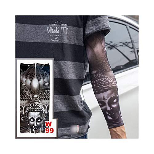 Manches De Tatouage Temporaire,Protection solaire manches moto, Fake Temporary Tattoo Sleeves Tattoos Full Long Slip On Arm Tattoo Sleeve Kit Men Elastic Nylon Glove Tattoos Black Skull Design w99