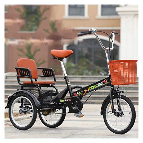 ZFF Mini Plegable Triciclo para Adultos 16 Pulgadas Bicicleta 3 Ruedas Cruiser Trike...