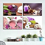 PLWCVERS 4pcs Arte de la Pared Pintura en Lienzo Impresión SPA Cuerpo Salón de uñas Masaje Vela Toalla Púrpura Brillante Impresiones de imágenes modulares / 30x45cmx4 (Sin Marco)