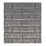DecoMe Silver Black (Brick) 23.6x23.6x0.4 inch Faux PE Foam Real Ricks Effect Textured 3D Wall Panels Sticker Self Adhesive Peel and Stick Panels for Home Decoration Pack of 10 Pieces 39 Sq Ft