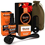 Beard Growth Kit, Beard Growth Serum + Beard Growth Roller + Beard Wash Soap + Keychain Pocket Comb - Organic, Vegan Beard Growth Products - The Perfect Gift For Men