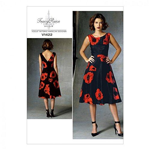 Vogue Damen Schnittmuster 1422 Gefüttertes Kleid mit tailliertem Mieder