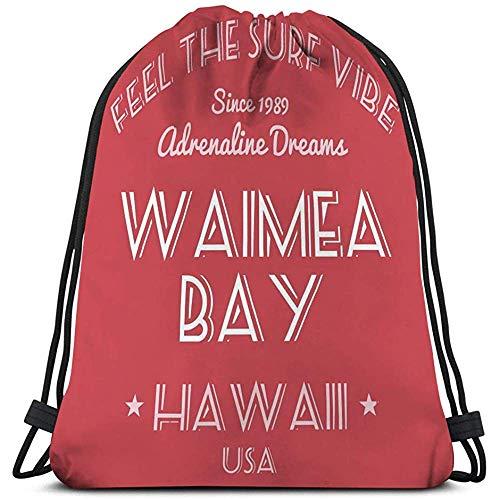 String Gym Backpack Classic Drawstring Bag Sport Storage Bag for Man Women Hawaii Surf Fashion Surfing tipografía Waimea Bay USA