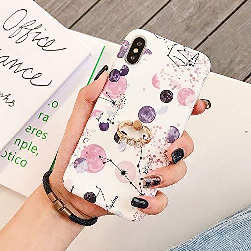 KNGYUTF telefoonhoes voor iPhone XR XS Max 6 6S 7 8 Plus X Planet Galaxy mat zacht IMD achterkant beschermhoes met ring cadeau Pour iPhone XS MAX Tenir un