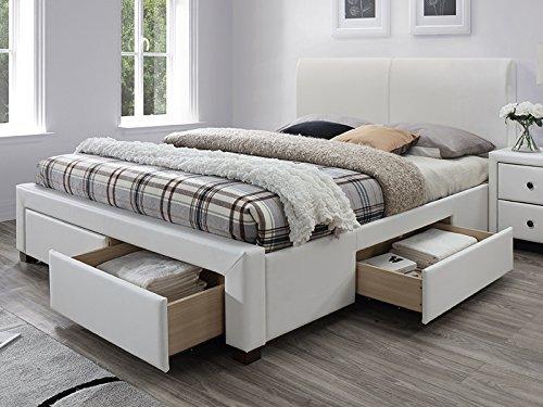SelseyLorki - Polsterbett Doppelbett mit Lattenrost und 4 Schubkästen Kunstleder in Weiß, 160 x 200 cm