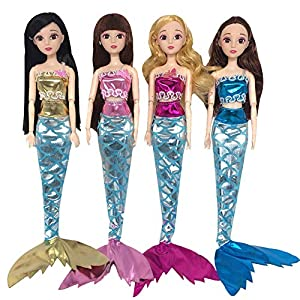 4 Piezas Muñecas Ropa de Sirena , Vestidos de Cola de Sirena,Muñecas Fashion Ropa ,Juguete de Niña Juego