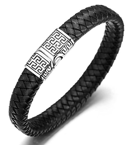 Halukakah  Solo  Pulsera Hombre Cuero Genuina Negro Cierre Magnético Titanio Acero Inoxidable 8.46'(21.5cm) con CajaDeRegaloGRATIS