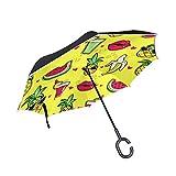 U LIFE plantas tropicales piña piña sandía Reverse Inverted paraguas sol lluvia Golf paraguas para coche uso en exteriores con mango en forma
