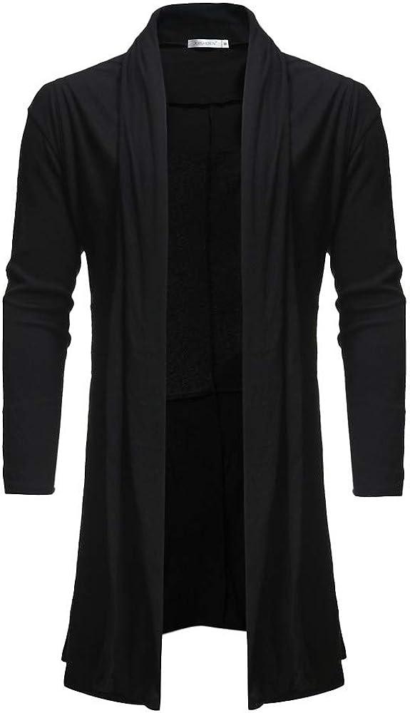 iLXHD Men's Casual Pure Color Cloak Shawl Loose Medium Length Knitted Coat