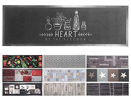 Primaflor - Ideen in Textil Küchenläufer Küchenteppich Waschbar - 50 x 150 cm, Heart of Kitchen Schwarz, rutschfest, Schmutzfangläufer für Küche und Flur, Teppich-Läufer