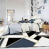 DPJS Elegante Metal Pesado Fácil De Limpiar Geometría Azul Muy Duradera Mármol Blanco Negro Tira Dorada Dormitorio Sala De Estar Alfombra del Piso Alfombra,160x230cm