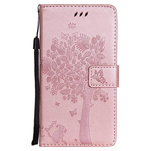 Nancen Compatible with Handyhülle Huawei Honor 5X / Huawei GR5 (5,5 Zoll) Flip Schutzhülle Zubehör Lederhülle mit Silikon Back Cover PU Leder Handytasche im Bookstyle Stand Funktion