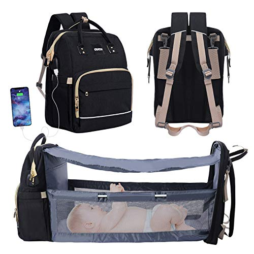 3 in 1 Diaper Bag Foldable Baby Bed Waterproof Travel Bag (Black)