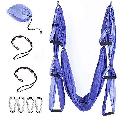 Hi Suyi Aerial Yoga Hammock Anti-Gravity Flying Swing Aerial Silks Yoga Pilates Set Include Steel Carabiners Extension Straps