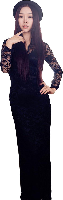 Unomatch Womens VNeck LongSleeved Full Length Dress Black