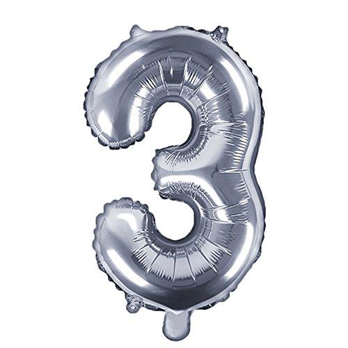 DekoHaus Folienballons Buchstaben / Zahlen Höhe 35 cm Farben: Gold oder Silber (3, Silber)