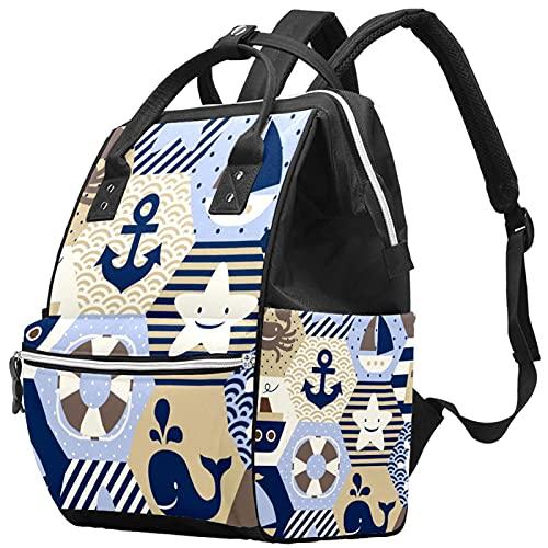 WJJSXKA Mochilas Bolsa de pañales Laptop Notebook Mochila de viaje Senderismo Daypack para Mujeres Hombres - tema marino crema