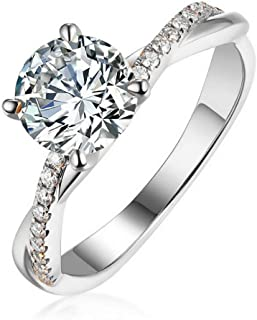 Shiny 1 Carat Simulated Diamond Rings for Women - 18K White Gold Plated