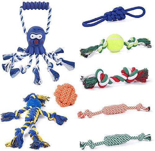 Joyoldelf Hundespielzeug, Welpenspielzeug, 8 Haltbare Welpen-Kauspielzeuge zum Reinigen der Zähne, Hundespielzeug 100{9da0e448655fdd4abb360ebdf2b431b65a940b61f5480b3fa6b48330961f66cc} Natürliches Baumwollseil, kann Langeweile Verhindern und Stress Reduzieren