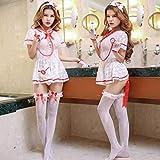 CHBY Body erótico de Mujer Conjuntos de lencería Uniforme de lencería Sexy Sexy Set-White_One Size