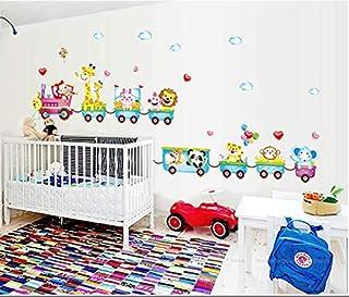 Cartoon Animal Small Train 3d Wall Sticker Home Decor Cartoon Wall Decal For Kids Bedroom Wallpaper