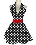 Zeronal Lovely Retro Apron for Women Cute Adjustable Cotton Sexy V-Necked Big Polka Dot Classic Marilyn Monroe Big Wave Skirt Black Red