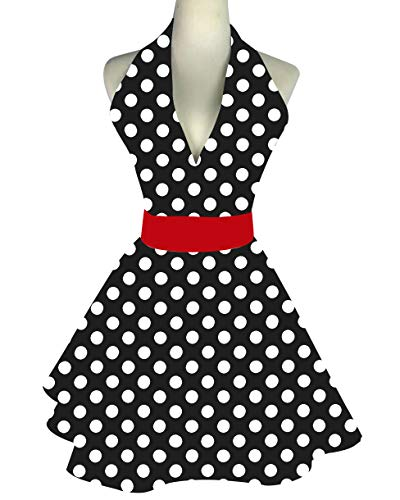 Lovely Retro Apron for Women Cute Adjustable Cotton Sexy V-Necked Big Polka Dot Classic Marilyn Monroe Big Wave Skirt Black Red