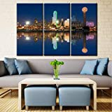 3 Pcs Wall Art Dallas Skyline Reflected in Trinity River at Sunset Canvas Art Paintings For Room Decor Texas Cityscape Skyscrapers Night Scene Picture Prints On Canvas For Home Decor - 40'' x 60''