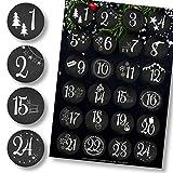 Adventskalender Aufkleber (Zahlen 1-24) - Sticker für Kalender zum selber basteln für Weihnachten - Adventskalenderzahlen Etiketten selbstklebend - Zahlenaufkleber - Nummern für Papiertüten - Rund