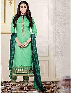 Green Color Cotton A-Line suit