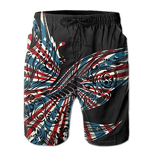 El más Nuevo - Shorts de Surf de Secado rápido para Verano de Viaje para Adolescentes - USA Flag Eagle